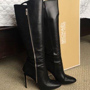 Michael Kors black leather knee length boots
